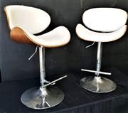 Sale 9051 - Lot 1049 - Pair of Timber and White Leather Height Adjustable Metal Based Bar Stools (Height of back range: 93 - 116cm)