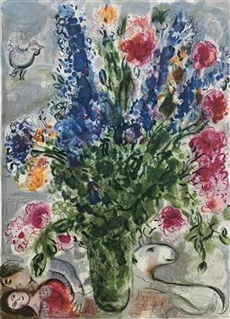 Sale 9108A - Lot 5058 - Marc Chagall (1887 - 1985) - Les Lupin Bleu 89 x 62 cm (sheet)