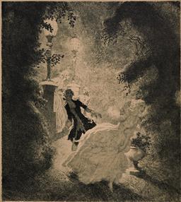 Sale 9161A - Lot 5077 - NORMAN LINDSAY (1879 - 1969) - Flight 27.5 x 24.5 cm (frame: 60 x 50 x 4 cm)