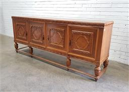 Sale 9129 - Lot 1051 - Fruitwood sideboard with four doors raised on stretcher base -178 (h:100 w:240 d:52cm)