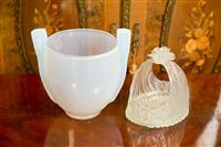 Sale 8392H - Lot 42 - A Vaseline Glass Twin Handled Vase together with a vintage Vaseline Glass Basket (damage to rose on basket), larger H 22cm