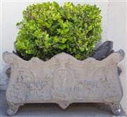 Sale 8595A - Lot 82 - A pair of cast French style planters with small established buxus, each W  51cm