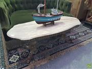 Sale 8648C - Lot 1086 - Travertine Shield Shaped Top Coffee Table on Brass Base