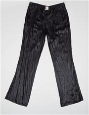 Sale 8740F - Lot 28 - A pair of Sass & Bide black satin viscose-blend and silk trim pants, size EUR 40