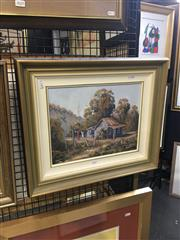 Sale 8702 - Lot 2026 - Artist unknown - Country Cottage, oil on canvas board, 44 x 51 (frame size), signed lower right