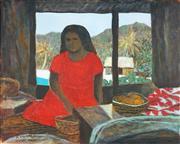 Sale 8773 - Lot 558 - Ray Crooke (1922 - 2015) - Untitled (Islander in Interior Scene) 40 x 50cm