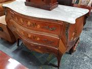 Sale 8814 - Lot 1010 - Louis XV Style Marquetry Bombe Chest, probably Spanish origin, with marble top & brass mounts, with three serpentine fronted drawers