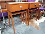 Sale 8822 - Lot 1100 - Pair of Vintage Bedsides with Single Drawer over Slender Hoop Base