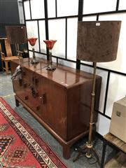 Sale 8896 - Lot 1024 - A pair of non-matching telescopic floor lamps (as new), one in brass, the other steel, both with taupe shades, approx pictured heigh...