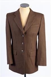 Sale 8926H - Lot 40 - A BASLER button up blazer in brown stripe, approx size 14