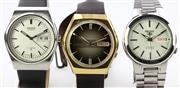 Sale 8644W - Lot 86 - THREE SEIKO WRISTWATCHES; 2 in stainless steel one with gold plated top and stainless steel back, one with bronze dial, all with app...