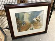 Sale 8856 - Lot 2056 - Artist Unknown Three Doves watercolour, 74 x 87cm. -