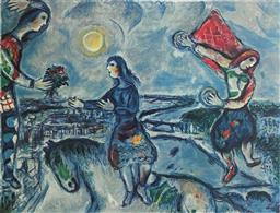Sale 9108A - Lot 5023 - Marc Chagall (1887 - 1985) - Lovers over Paris 63 x 90cm (sheet)