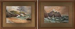 Sale 9127 - Lot 2010 - Walter W Goddard (1858 – 1933) (2 works) - Maritime Scenes 16.5 x 24.5 cm, each (frames: 30 x 38 x 2 cm)