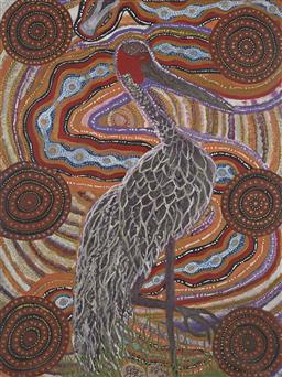 Sale 9171A - Lot 5009 - MALCOLM MALONEY JAGAMARRA (1955 - ) Brolga acrylic on linen 123 x 92 cm (stretched and ready to hang) signed lower centre