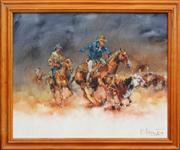 Sale 8316 - Lot 533 - Patrick Kilvington (1922 - 1990) - With the Last Mob In, 1989 40 x 50cm