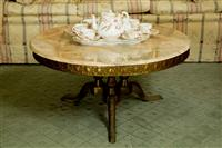 Sale 8392H - Lot 44 - An Italian marble top circular coffee table on brass tripod  base, D 90 x H 45cm