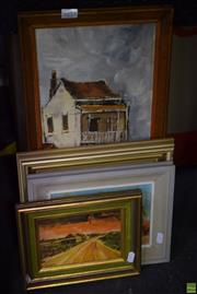 Sale 8569 - Lot 2053 - Group of (4) Assorted Original Paintings by Various Artists - Country Scenes and Terrace Houses, framed various sizes