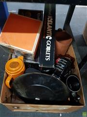 Sale 8582 - Lot 2476 - Box of Sundries incl. Cups & Saucers, Coffee Set, Glasswares, Cameras, Plated, etc
