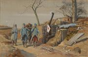 Sale 8675 - Lot 587 - Jean Jacques Berne-Bellecour (1874 - 1939) - WWI Military Scene, 1915 28.5 x 44.5cm