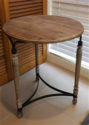Sale 8858H - Lot 70 - A Round Timber and Metal Occassional Table, H 53 x D 40 cm -