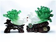 Sale 8869C - Lot 661 - A Mismatched Pair of Chinese Resin Vegetables on stand (H38cm and 31cm)