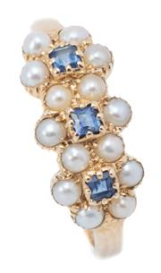 Sale 9037 - Lot 373 - A VICTORIAN STYLE TRIPLE CLUSTER GEMSET RING; each cluster centring a square cut blue sapphire surrounded by seed pearls in 9ct gold...