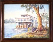 Sale 9028 - Lot 2047 - Kathleen Drover?? - Murray River Trader 29.5 x 39.5 cm (frame: 38 x 47 x 2 cm)