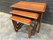 Sale 9056 - Lot 1041 - Nest of 3 Teak Occasional Tables (h:52 x w:61 X D:48)