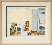 Sale 9091 - Lot 2078 - Michael Winters (1943 - ) - Studio Corner & the Harbour 1987 56 x 76 cm (frame: 92 x 108 x 2 cm)
