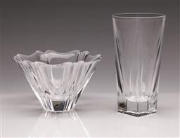 Sale 9110 - Lot 24 - A vintage crystal Orion vase and a crystal Odyssey vase, Lars Hellsten for Orrefors H:15cm