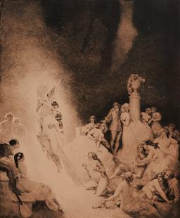 Sale 9161A - Lot 5078 - NORMAN LINDSAY (1879 - 1969) - Death in The Garden 32 x26cm (frame: 60 x 50 x 4 cm)