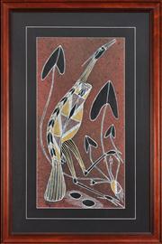 Sale 8297 - Lot 594 - Danny Djorllom (XX) - Pied Heron 65 x 32.5cm