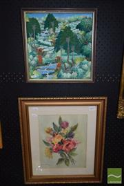 Sale 8497 - Lot 2097 - Balinese Batik and Watercolour by Unknown Artists (2), framed, various sizes