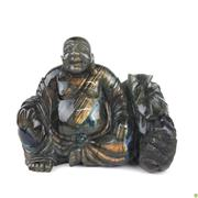 Sale 8562R - Lot 26 - Labradorite Buddha Figure with Sack (W: 14cm)