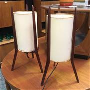 Sale 8643 - Lot 1032 - Pair of Teak Framed Tripod Lamps