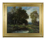 Sale 8660A - Lot 15 - William Ashton, British (1853-1927) - Cattle by a River 64 x 76 cm