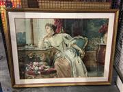 Sale 8750 - Lot 2076 - Wladyslaw Czachorski (1850 - 1911) - Pensive Sitter chromolithograph, 79.5 x 104cm (frame)