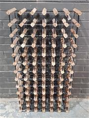 Sale 8971 - Lot 1085 - Timber and Metal Wine Rack (H:118 x W:61 x D:23.5cm)
