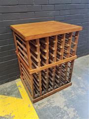Sale 9006 - Lot 1012 - Pine Double-Sided Wine Rack (H:99 x W:74 x D:64cm)