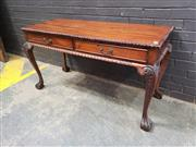Sale 9034 - Lot 1012 - Mahogany 2 Drawer Hall Table with Pie Crust Edge (h:75 x w:410 x d:43cm)