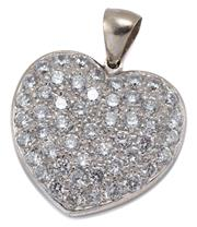 Sale 9054 - Lot 399 - A 9CT WHITE GOLD STONE SET HEART PENDANT; 26.6 x 24.7mm heart pave set with round brilliant cut zirconias, wt.10.13g.