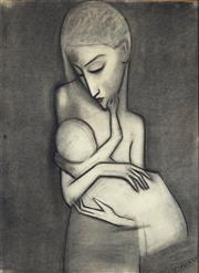 Sale 9067 - Lot 537 - Robert Dickerson (1924 - 2015) - Mother & Child 76 x 54.5 cm (frame: 86 x 65 x 3 cm)