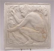 Sale 9060 - Lot 28 - Plaster plaque featuring an Aboriginal man (39.5cm x 40cm)