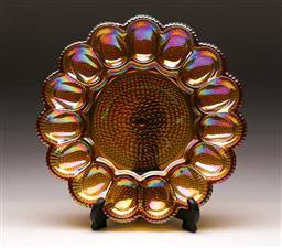 Sale 9114 - Lot 33 - A carnival glass flower shaped dish Dia 29cm