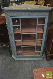 Sale 8345 - Lot 1007 - Georgian Corner Wall Cabinet, with later blue painted finish with fret & lattice work & astragal door