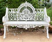 Sale 8677A - Lot 20 - A Cast Iron white painted bench 98 x 128cm