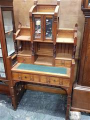 Sale 8714 - Lot 1013 - Unusual Victorian Aesthetic Possibly Birch Desk, the high back with mirrored doors, shelves & trinket drawers, above a green slide-o...