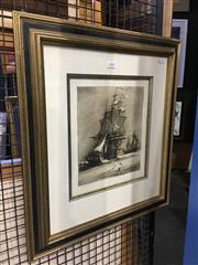 Sale 8750 - Lot 2047 - Geoffrey C. Ingleton - H.M Sloop Investigator 1802 etching (AF), 57 x 52cm (frame), signed in plate