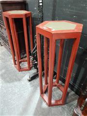 Sale 8934 - Lot 1009 - Pair of Oriental Stone Top Pedestals